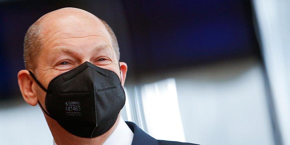 Bundesfinanzminister Olaf Scholz (SPD)mit Maske