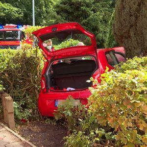 Der VW Up durchbrach eine Hecke und kam im Garten zum Stehen.