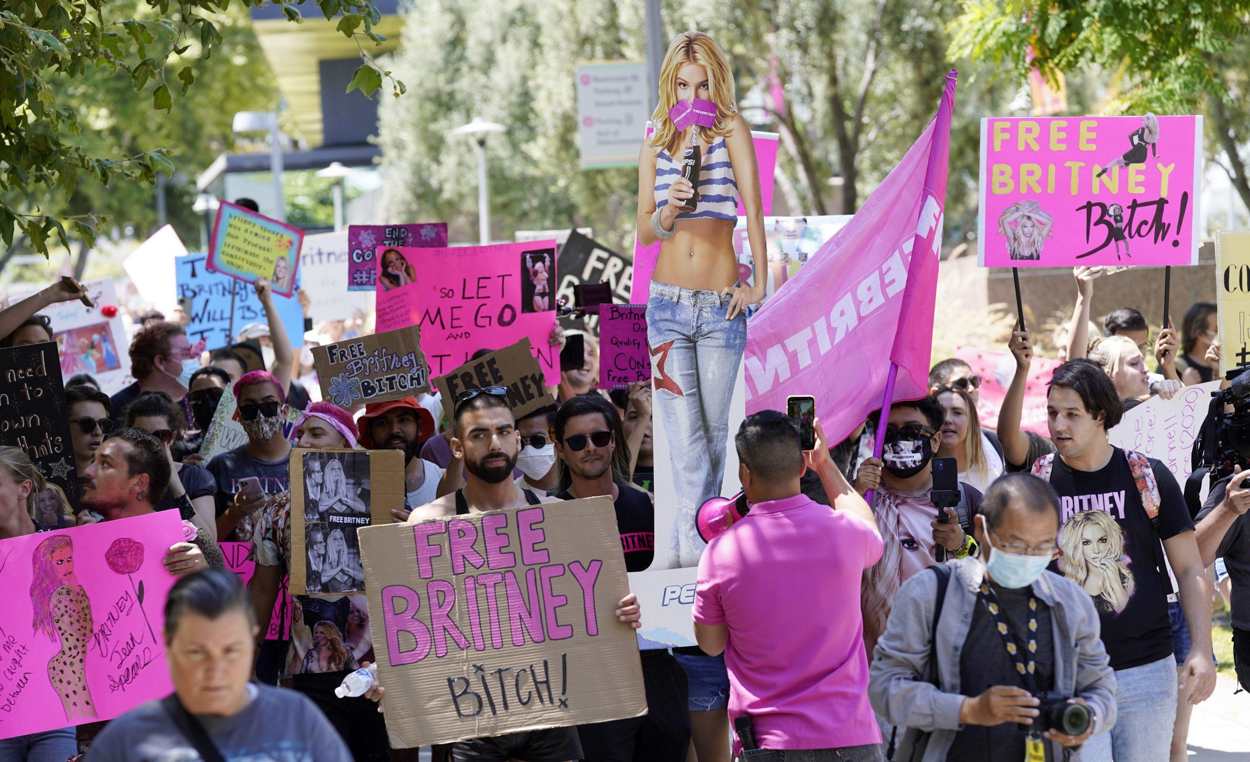 """""""#FreeBritney"""": Zahlreiche Fans zeigten Plakate vor dem Gericht"""