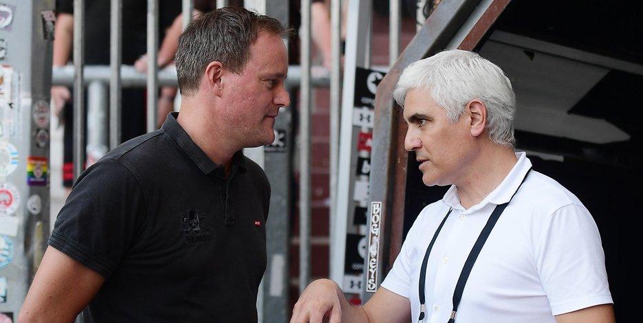 St. Pauli-Präsident Oke Göttlich (l.) und Sportchef Andreas Bornemann