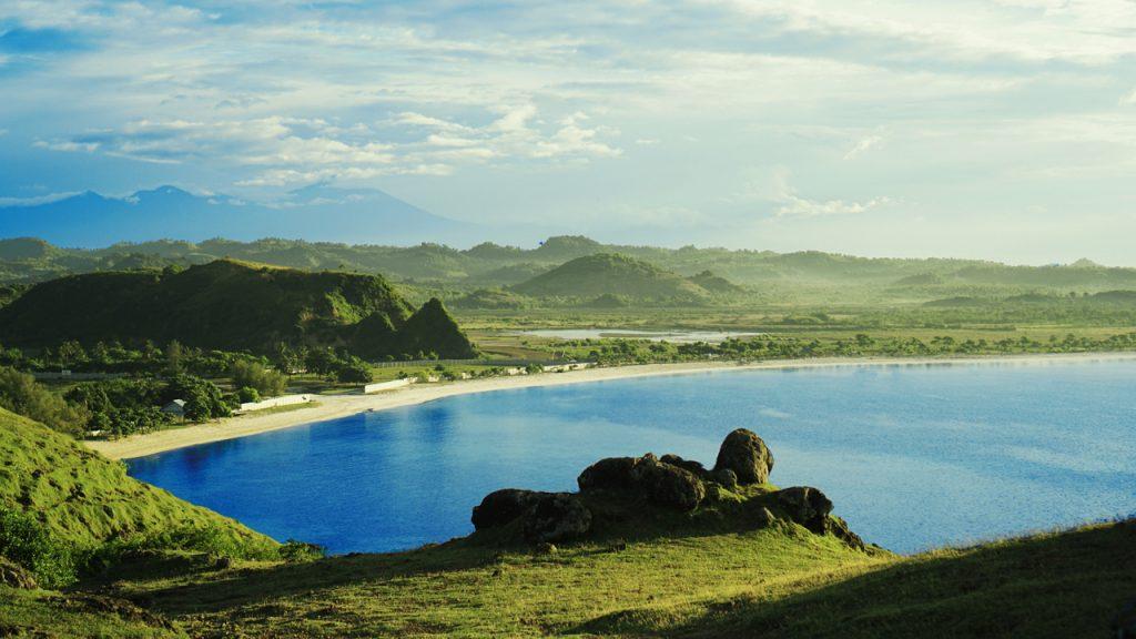 Blick auf den Strand Mandalika Tanjung Aan