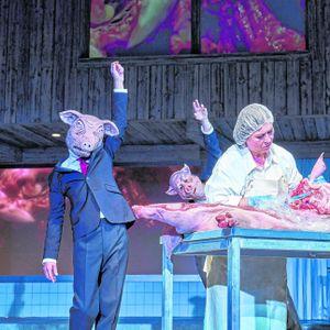 """Im Theaterstück """"Lärm. Blindes Sehen. Blinde sehen!"""" zerschneidet Eva Mattes ein Schwein."""