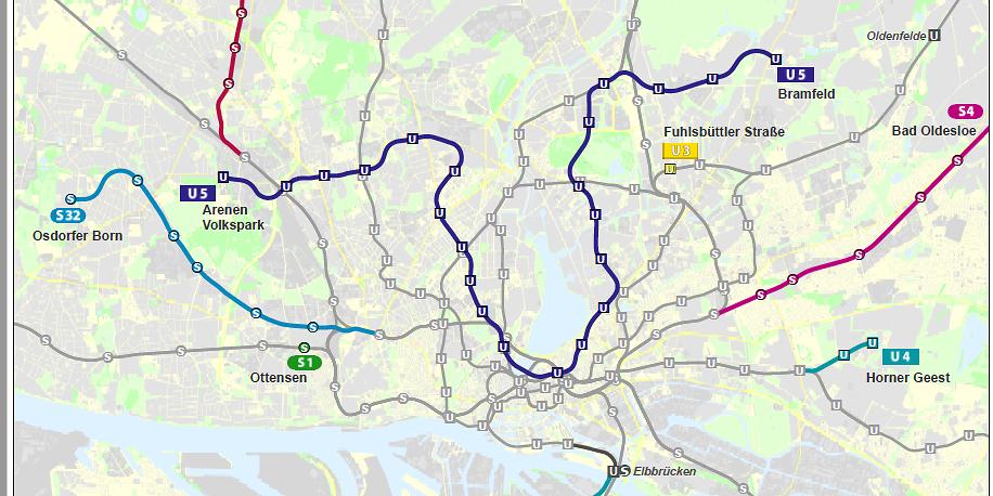 Im Hamburger Stadtgebiet sollen insgesamt 36 neue Bahnhöfe entstehen – in hellblau die geplante Linie der S32.