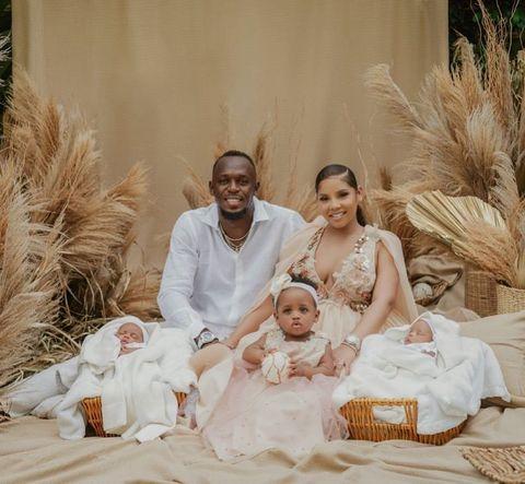 Usain Bolt mit Frau und Kindern