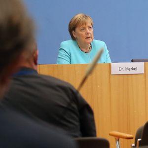Bundeskanzlerin Angela Merkel (CDU) bei ihrer letzten Sommer-Pressekonferenz am Donnerstag.
