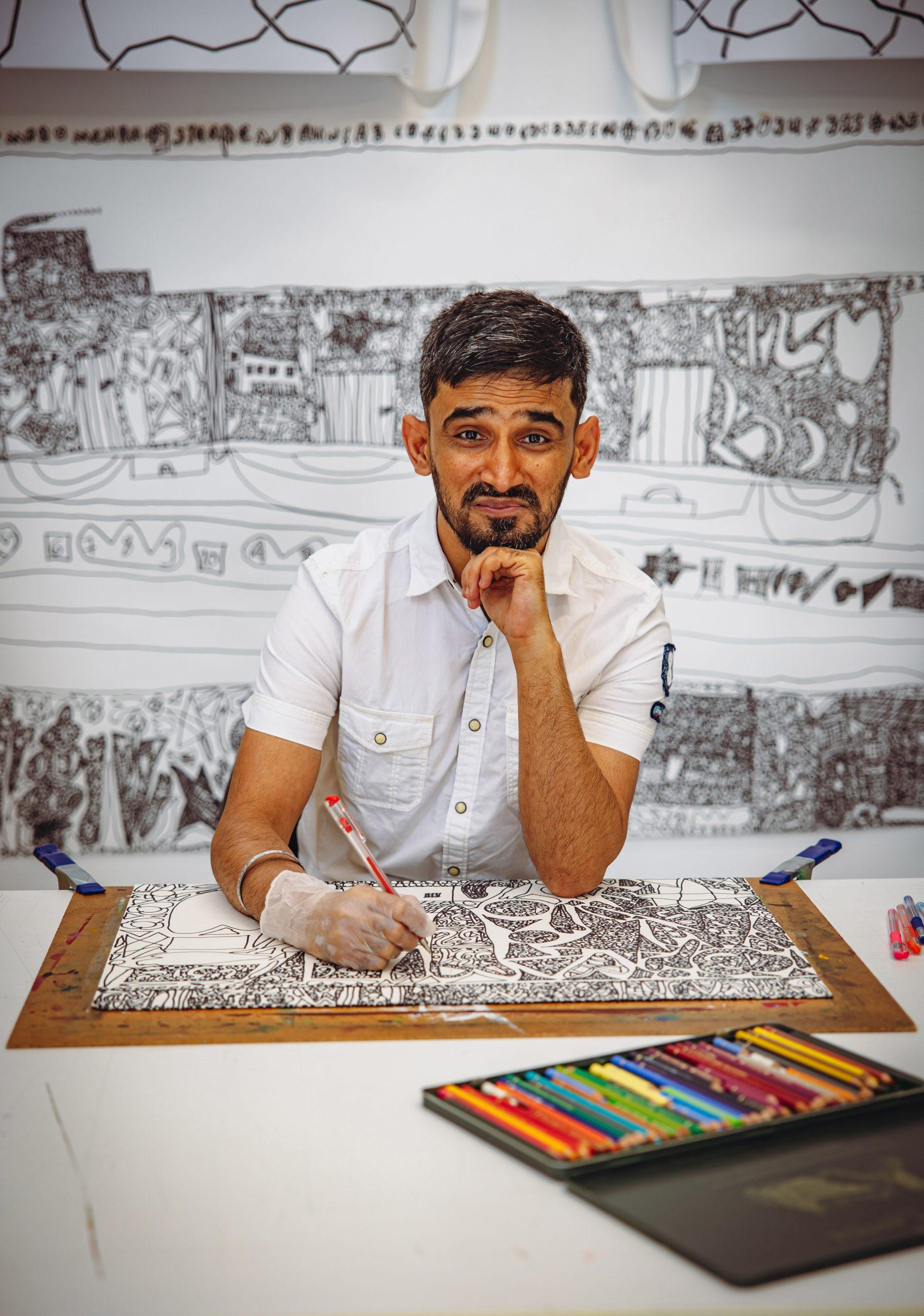 Biraj-Kumar Mehra, einer der Künstler der Galerie der Villa
