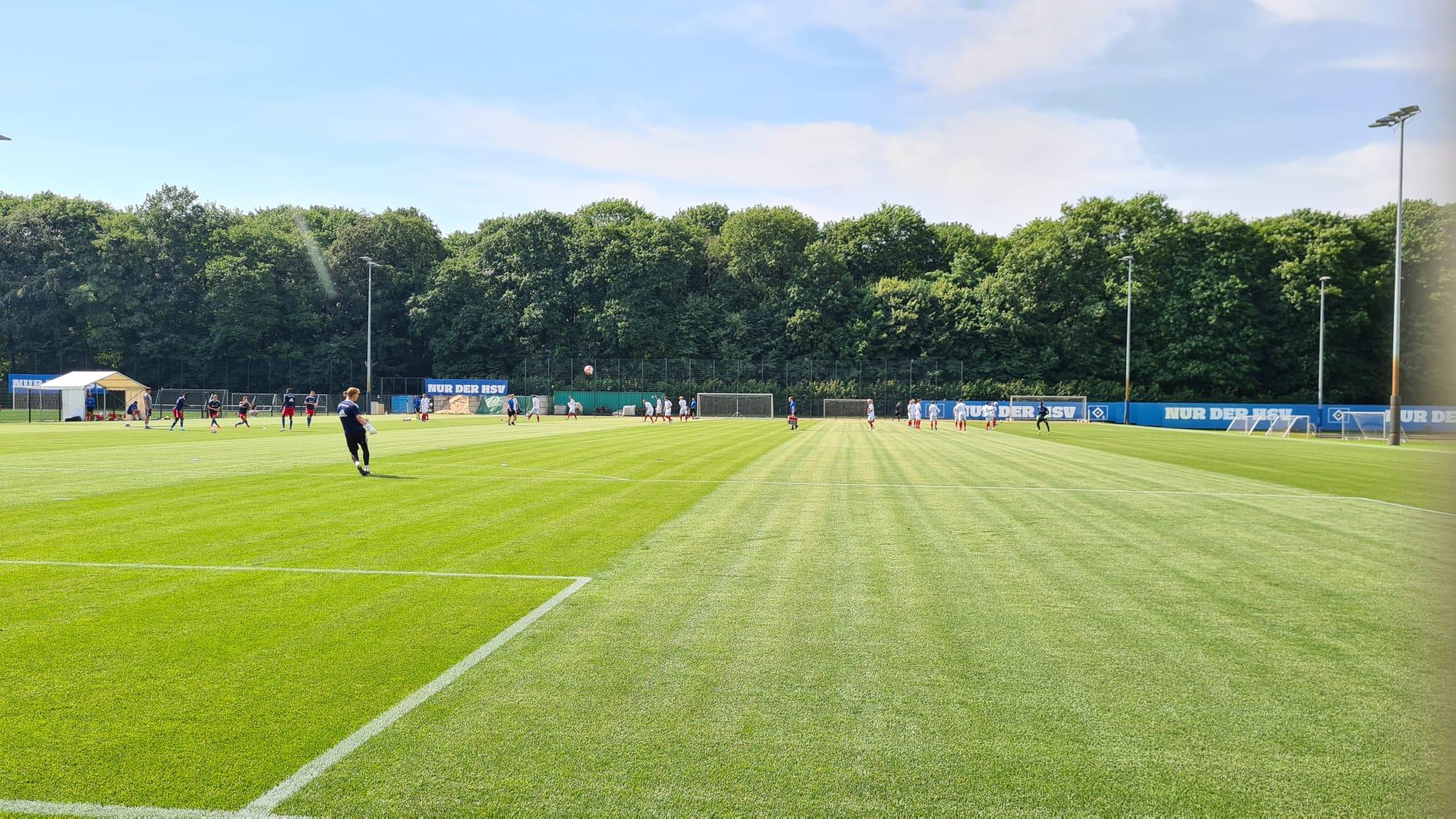 Die HSV-Profis machen sich bereit für das Testspiel.