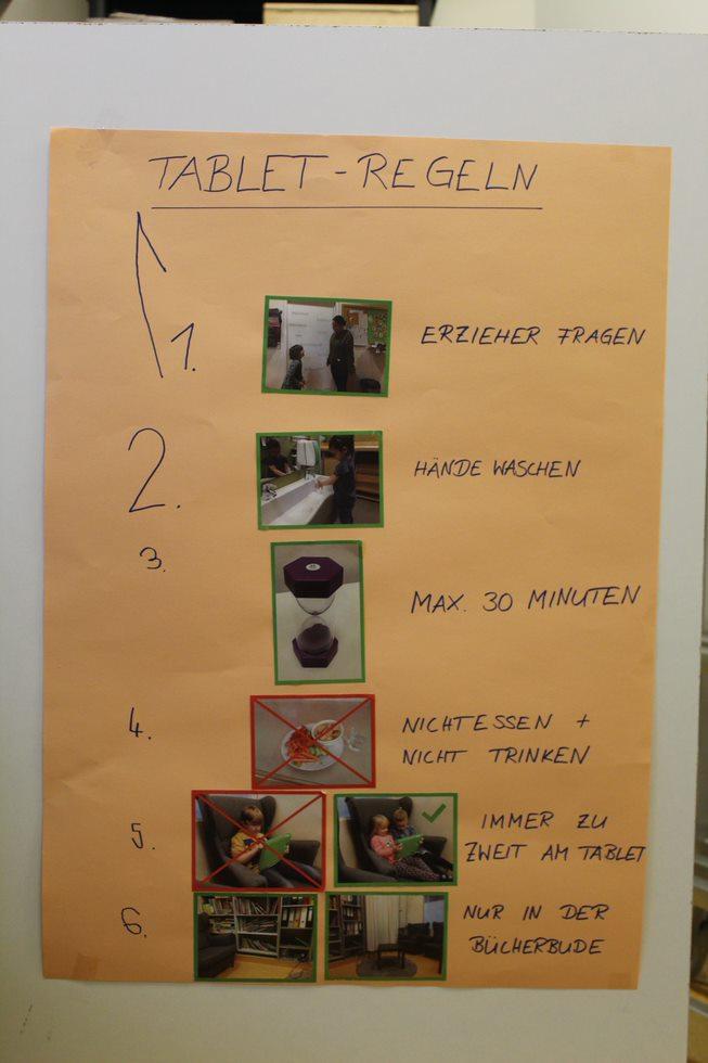 Plakat mit Regeln zur Tablet-Nutzung