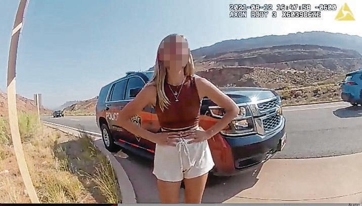 """Gabrielle """"Gabby"""" Petito auf einem der letzten Fotos von ihr. Ein Polizist hat es mit seiner Körperkamera gemacht."""