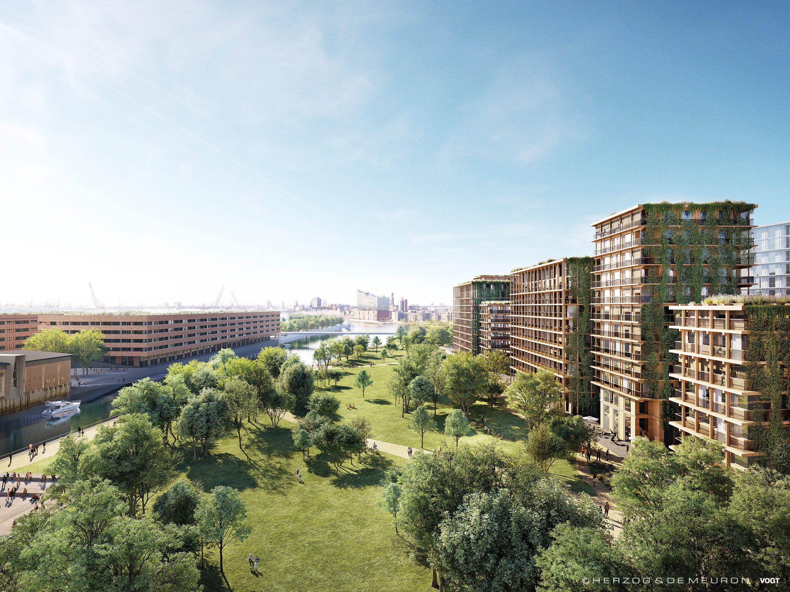 Die Visualisierung zeigt den Blick von Westen auf den Park und den Moldauhafen.