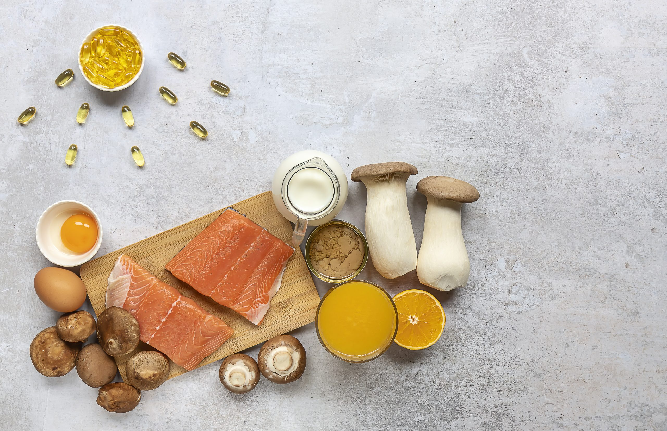 Eier, Pilze, Seefisch und Milch liefern dem Körper viel Vitamin D.