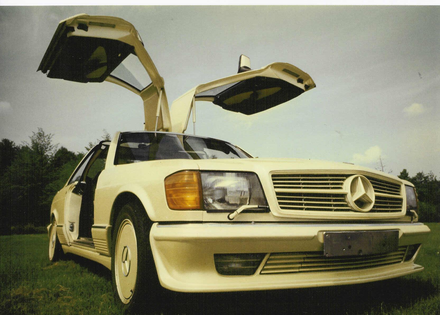 Der Wagen, der Chris Hahn berühmt gemacht hat: ein mit Flügeltüren versehener Mercedes 500 SEC aus dem Jahr 1983.