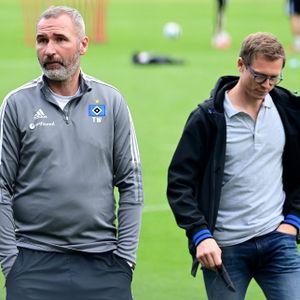 Tim Walter (l.) verzockte sich beim HSV-Training, sorgte aber für viel Feuer.
