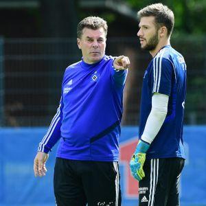 Dieter Hecking (l.) und Daniel Heuer Fernandes beim HSV.