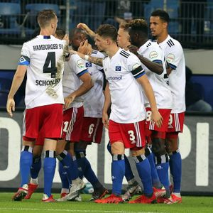 Die HSV-Spieler jubeln