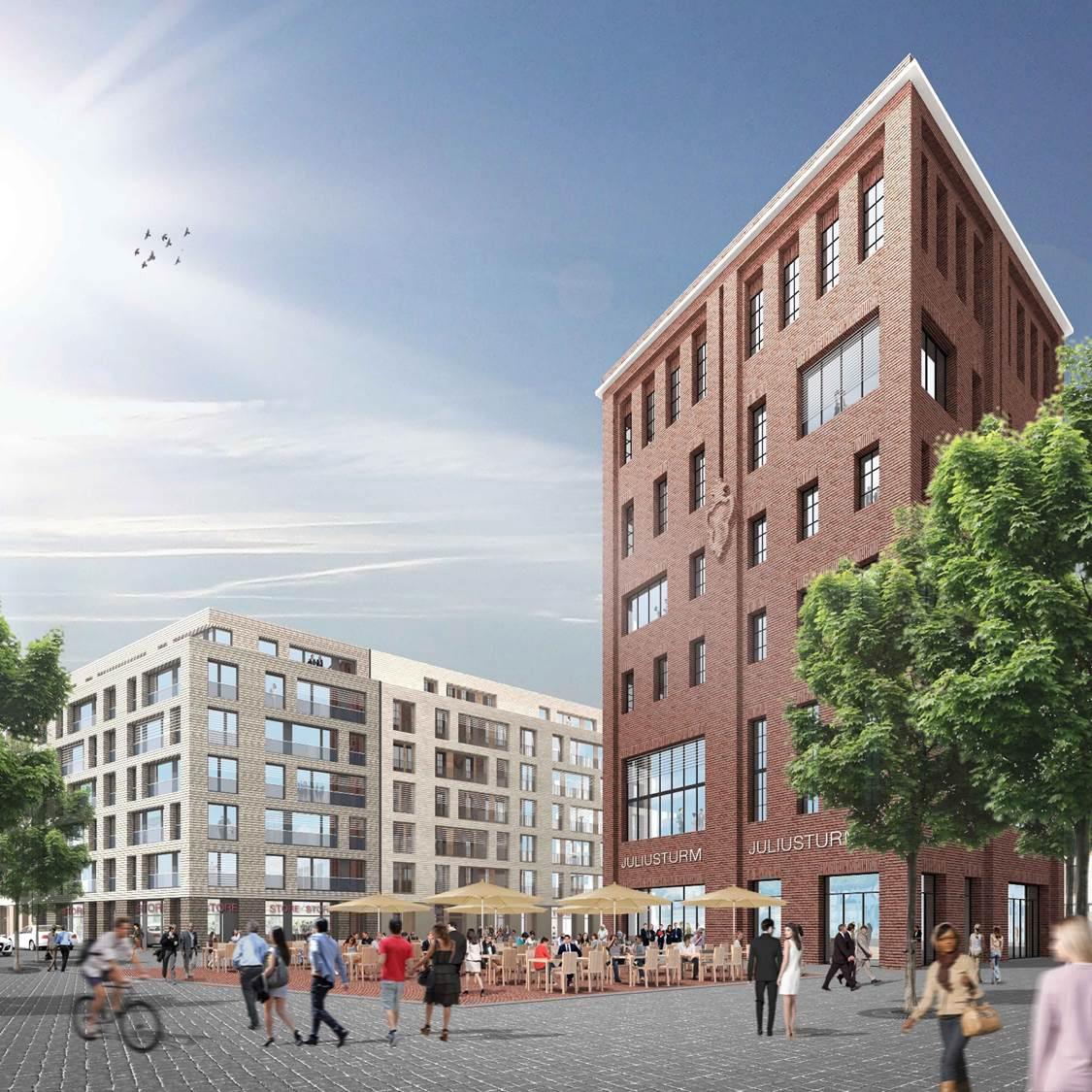 Die Visualisierung zeigt die geplanten Neubauten auf dem Holsten-Areal.